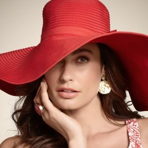 Beach Sun Hat Deep Caliente Coral Chico's